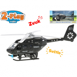 Helikopter policyjny 22-centymetrowy metalowy akumulator 2-biegowy Rewers ze światłem i dźwiękiem w pudełku
