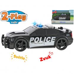 Auto polícia USA 18,5cm na zotrvačník 2-Play na batérie so svetlom a zvukom v krabičke