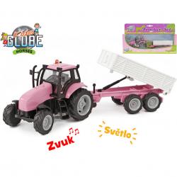 Traktor s vlečkou 25cm kov na zotrvačník na batérie so svetlom a zvukom v krabičke