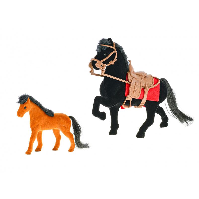 Koń plastikowy 16 cm ze źrebakiem w pudełku