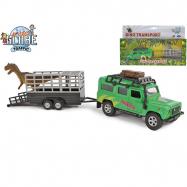 Land Rover z przyczepą i dinozaurem 28 cm pull back w WBX