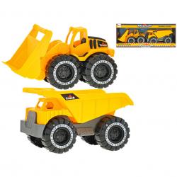 Autá stavebné 18-20cm na voľný chod 2ks v krabičke