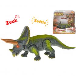 Dinozaur Triceratops 23 cm , światło,dźwięk