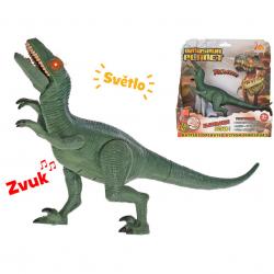 Dinosaurus Velociraptor 24cm na baterie se světlem a zvukem v krabičce