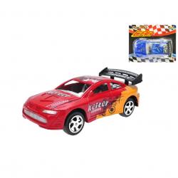 Auto závodní 15cm na setrvačník 2barvy na kartě