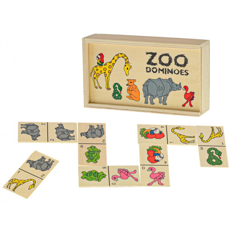 Drewniane domino 15,5x9x4 cm zwierzęta 28 elementów w pudełku