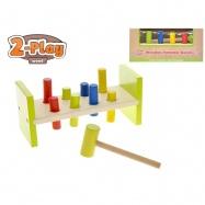 Zatloukátko s kladívkem dřevěné 23x10x9cm 2-Play 18m+ v krabičce