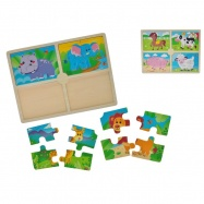 Puzzle dřevěná zvířátka 30x22,5x0,8cm 2 druhy 12m+