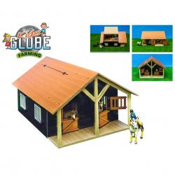Stajňa pre kone s dielňou drevená 51x40,5x27,5cm 1:24 v krabičke