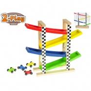 Dráha závodní 30x33x9,5cm dřevěná s auty 4,5cm 4ks 2-Play 12m+