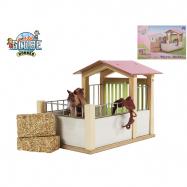 Stáj pro koně dřevěná 20x14x16cm v krabičce