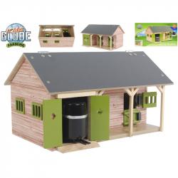 Stajňa pre kone drevená 34x21x19,5cm zelená 1:32 v krabičke