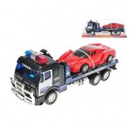Policejní kamion přepravní 39cm na setrvačník s autem 21cm na setrvačník v krabičce
