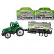 Traktor s vlečkou 21cm zpětný chod 3barvy na kartě