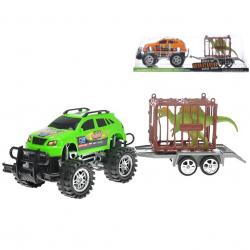 Auto terénní s přívěsem 39cm na setrvačník s klecí a dinosaurem 2barvy v krabičce