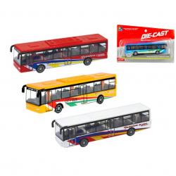 Autobus kov 15cm na zpětný chod 4barvy na kartě