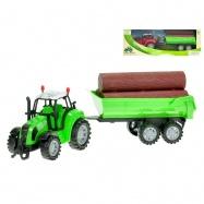 Traktor s vlečkou a dřevem 34 cm  na setrvačník 2 barvy v krabičce