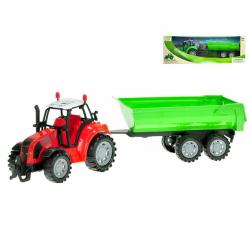 Traktor s vlečkou 34cm na setrvačník 2 barvy v krabičce