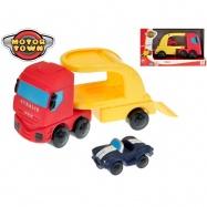 Ťahač IVECO 21 cm s autom 7,5cm Motor Town 18m + 2druhy v krabičke