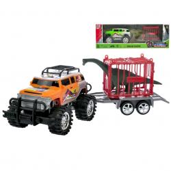 Auto terénní s vozíkem 39cm na setrvačník s klecí a dinosaurem 2barvy v krabičce
