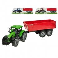 Traktor s vlečkou 1:32 42cm na setrvačník 3barvy v krabičce