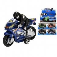 Motorka s řidičem 16cm na setrvačník 4barvy v krabičce 12ks v DBX