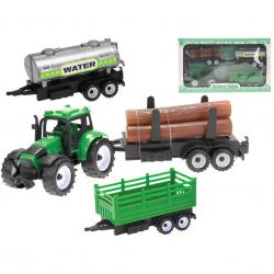 Traktor 12cm na zotrvačník + 3ks vlečky v krabičke
