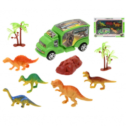 Auto dinosaurus 12,5cm na voľný chod s dinosaurami 5ks a doplnky v krabičke