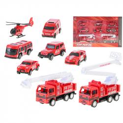 Samochody strażackie plastikowe 7-12 cm 8 szt. w WBX
