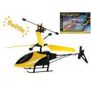 Helikoptéra 20cm reagující na pohyb ruky na baterie svítící s USB 2barvy v krabičce