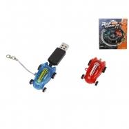 Auto závodní 2ks 4,5cm na baterii se světlem s USB dobíjením 6+ na kartě