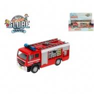 Auto hasičské 14cm kov na baterie se světlem/zvukem v krabičce