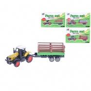Traktor s vlečkou 16cm 1:64 kov 4druhy na kartě