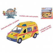 Auto ambulance 13cm kov zpětný chod na baterie česky mluvící se světlem v krabičce