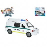 Auto slovenská polícia 13cm kov spätný chod na batérie so svetlom a zvukom v krabičke