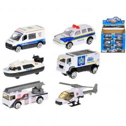 Vozidlo policejní 7-8cm kov 1:64 volný chod 6druhů v krabičce 24ks v DBX