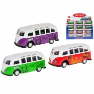 Autobus turistický 8cm 1:55 kov zpětný chod 3druhy v krabičce 36ks v DBX