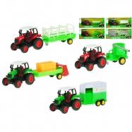 Traktor s vlečkou kov 18cm 1:43 zpětný chod 8druhů v krabičce