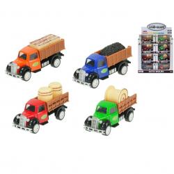 Nákladné auto farmárske kov 8,5cm 1:55 spätný chod 4druhy v krabičke 24ks v DBX