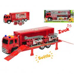 Kamion 40cm na setrvačník na baterie se světlem a zvukem+2auta hasiči kov 12cm v krabičce