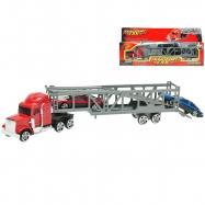 Kamion s přepravníkem aut 23cm kov + 2auta kov 7cm v krabičce