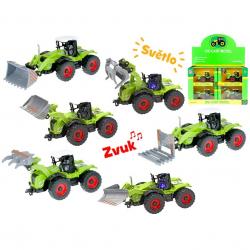 Traktor 1:54 kov na spätný chod na batérie so svetlom a zvukom 6druhů v krabičke 12ks v DBX