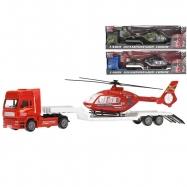 Auto nákladní kov 30cm volný chod s vrtulníkem 18cm 3barvy v krabičce