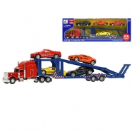 Auto nákladní 35cm volný chod se 4ks 8,5cm auto sportovní kov zpětný chod v krabičce