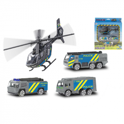 3 szt. samochodów metalowych policyjnych z helikopterem 17 cm Czeska wersja w WBX