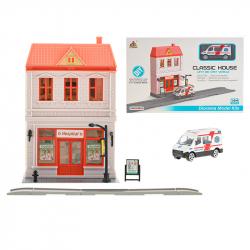 Puzzle szpital 1:64 z ambulansem metalowym 7 cm w WBX
