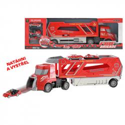 Cieżarówka strażacka plastikowa 41 cm z 3 metalowymi wozami strażackimi 6 cm