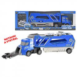 Cieżarówka policyjna plastikowa 41 cm z 3 metalowymi samochodami 6 cm