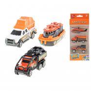 Autá záchranári 7 cm kov na voľný chod 3 ks 2 druhy v krabičke
