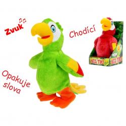 Papagáj plyšový chodiaci a opakujúce slová 20cm na batérie 2barvy v krabičke